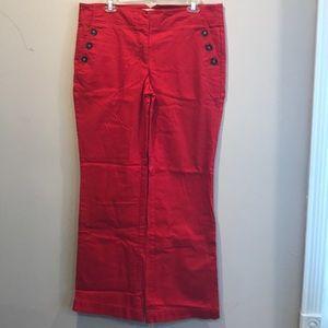 Loft sailor style red cotton pants -10